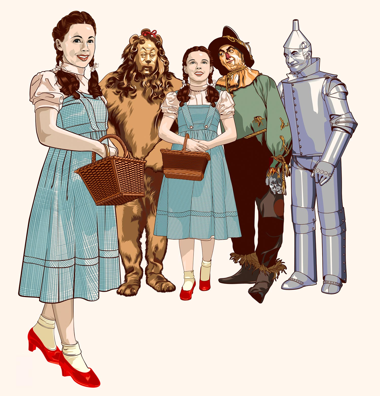 Caren Marsh Doll and Wizard of Oz cast